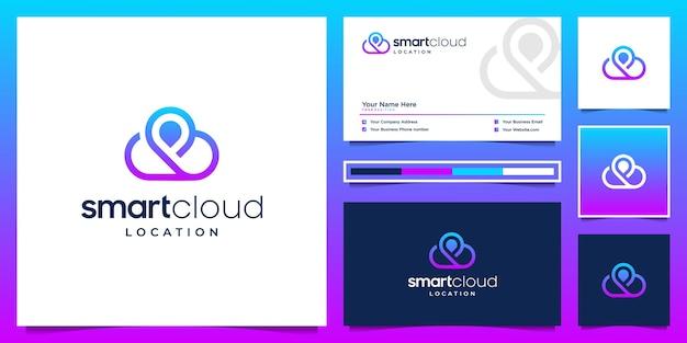 スマートクラウドとロケーションのロゴデザインと名刺。テクノロジー、サーバー、インターネットのシンボル。