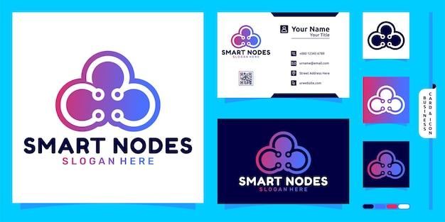 ノードのモダンなコンセプトと名刺デザインのスマートクラウドロゴ