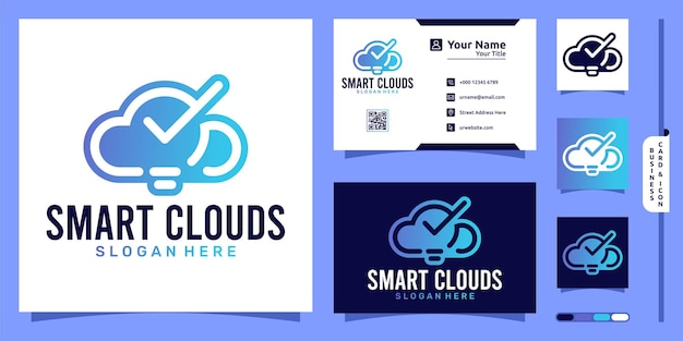 Smart clouds logo with smart bulb modern concept and business card design
