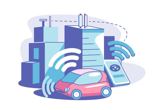 Smart connected city flat style illustration