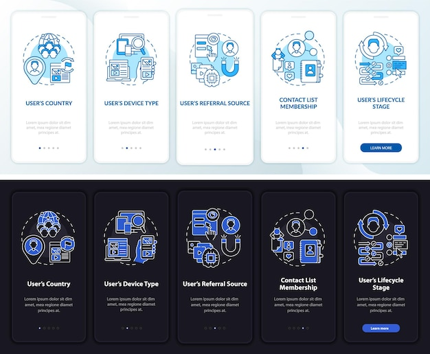 Smart content onboarding template. responsive mobile website with icons