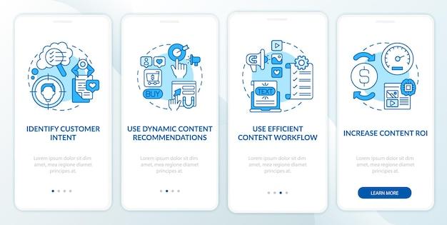 스마트 콘텐츠 팁 파란색 온 보딩 모바일 앱 페이지 화면