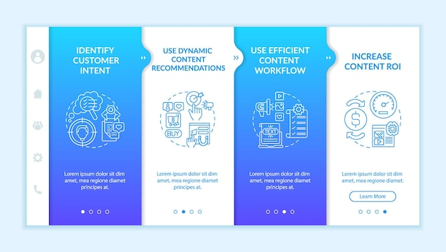 Smart content tips onboarding vector template. responsive mobile website with icons. web page walkthrough 4 step screens. digital marketing strategy color concept with linear illustrations