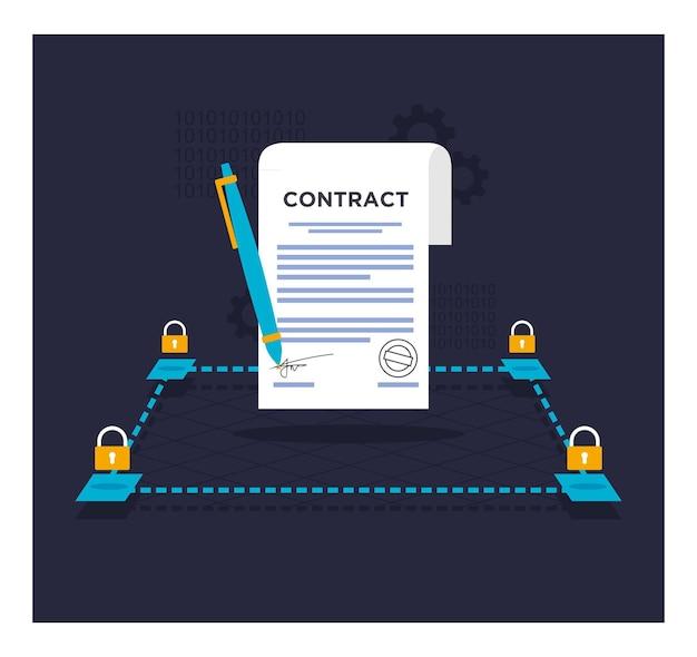 Smart contract blockchain flat design