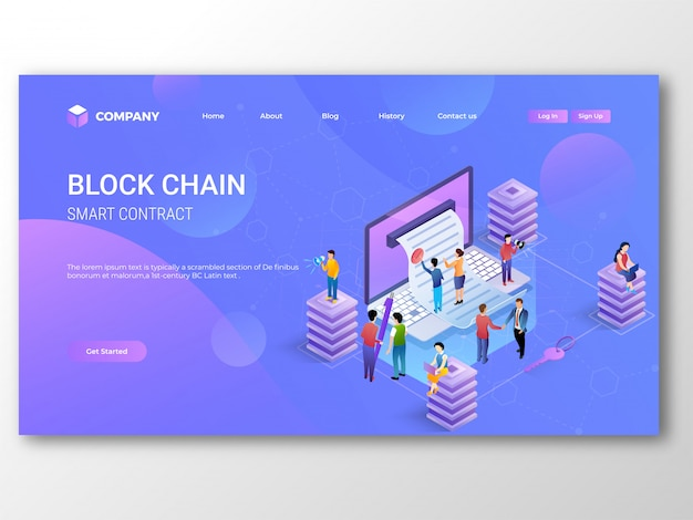 Smart contract blockchain landing page.