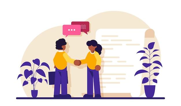スマートコントラクトビジネスマンの握手契約の締結成功したパートナーシップ