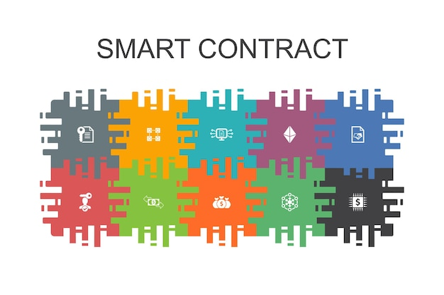 Smart contract  cartoon template with flat elements. contains such icons as blockchain, transaction, decentralization, fintech