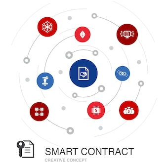 Smart contract colored circle concept with simple icons. contains such elements as blockchain, transaction, decentralization, fintech