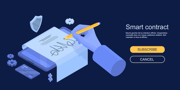 Smart contract concept banner, isometric style