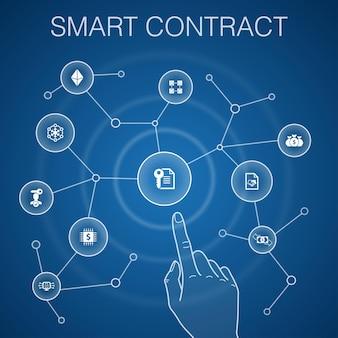 Smart contract concept, blue background.blockchain, transaction, decentralization, fintech icons
