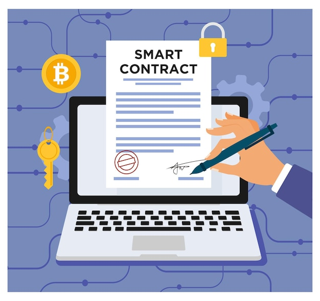 평면 디자인의 스마트 계약 디지털 계약