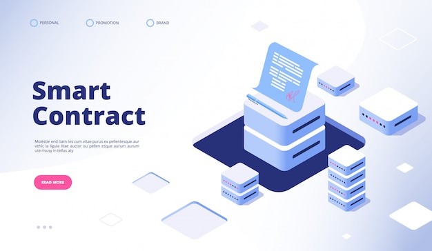 Умный контракт. электронная подпись документа смарт-контракты финансы данные криптография соглашение подрядчик целевая страница