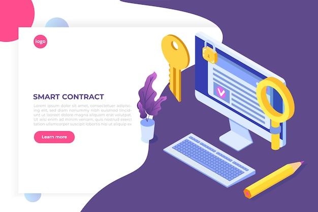 Умный контракт, изометрическая концепция цифровой подписи. технология блокчейн.