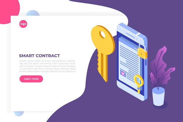 Smart contract, digital signature isometric concept. blockchain technology.