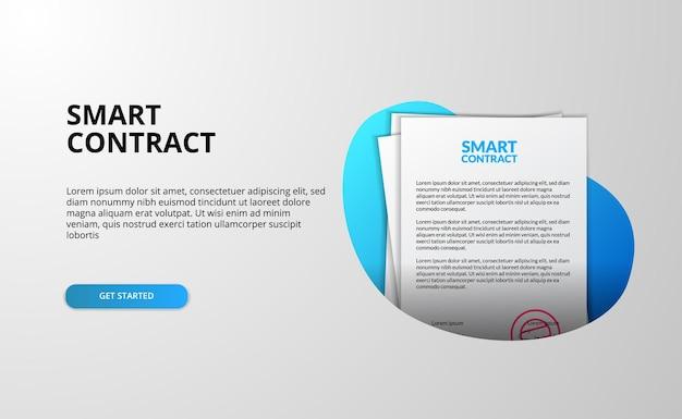 ビジネス法定証明書イラストテンプレートのスマートコントラクトファイルドキュメント