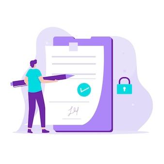 스마트 계약 그림 디자인 컨셉입니다. 웹 사이트, 방문 페이지, 모바일 응용 프로그램, 포스터 및 배너에 대한 그림입니다.