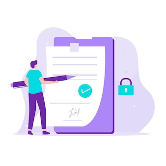 Smart contract illustration design concept. illustration for websites, landing pages, mobile applications, posters and banners.