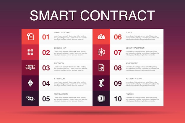 Smart contract infographic 10 option template.blockchain, transaction, decentralization, fintech simple icons