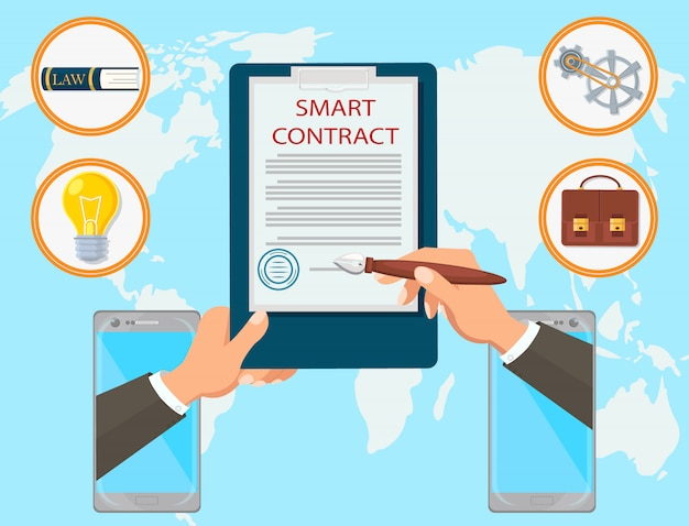 Smart contract vector flat law firm online mobile.