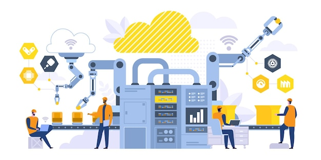 スマートコンベアフラットベクトルイラスト。工場のマネージャー、コンピューターの漫画のキャラクターを扱うエンジニア。製造プロセス制御、最新のロボット機械。産業革命
