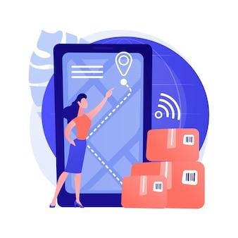 Illustrazione intelligente di vettore di concetto astratto di monitoraggio della consegna. traccia i tuoi ordini, lo stato della consegna online, il software applicativo, il pacco, il trasporto internazionale, la metafora astratta della spedizione espressa.