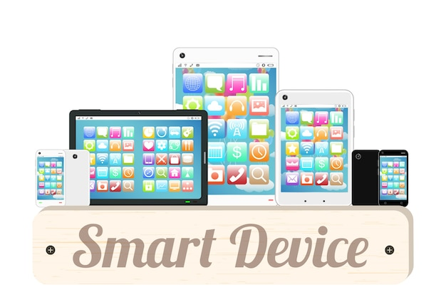 Smart device wood board with smart phone and tablet