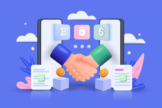 Smart digital contract with 3d shapes. handshake coming out of two mobile phones isolated on blue background. vector 3d illustration