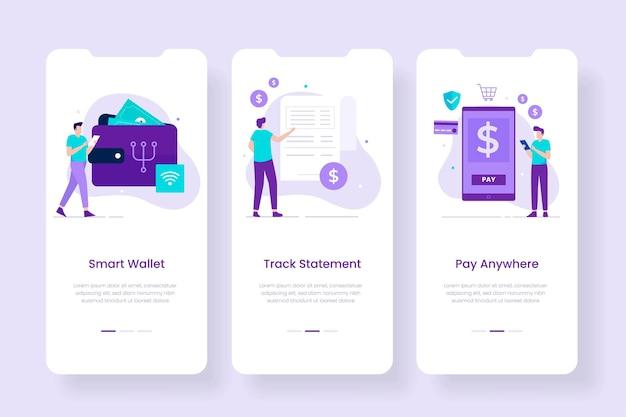 Шаблон экранов мобильного приложения смарт-цифровой кошелек. иллюстрации для сайтов, лендингов, мобильных приложений, постеров и баннеров