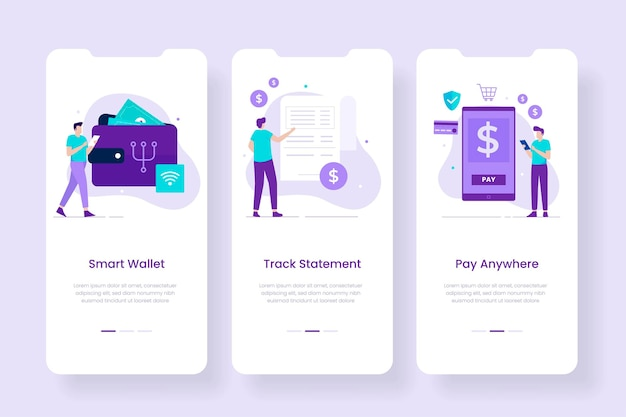 Smart digital wallet mobile app screens template. illustrations for websites, landing pages, mobile applications, posters and banners