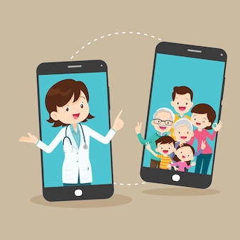 Smart doctor on the phone screen with family mobile app family doctor