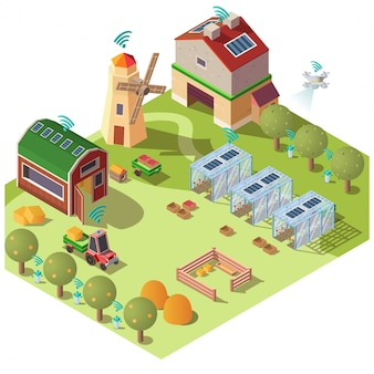 Smart ecological farming isometric vector concept