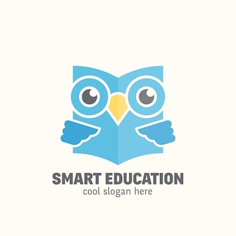 Smart education   logo template. learning emblem.