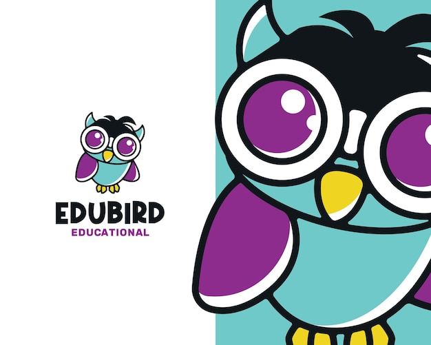 Smart educational owl bird logo template