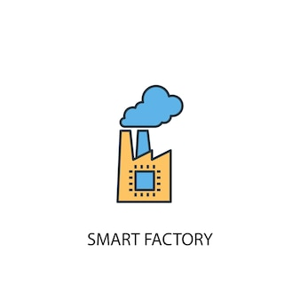 スマートファクトリーコンセプト2色の線のアイコン。シンプルな黄色と青の要素のイラスト。スマートファクトリーコンセプト概要シンボルデザイン