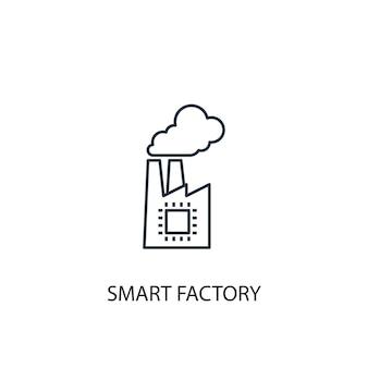 スマートファクトリーコンセプトラインアイコン。シンプルな要素のイラスト。スマートファクトリーコンセプト概要シンボルデザイン。 webおよびモバイルui / uxに使用できます