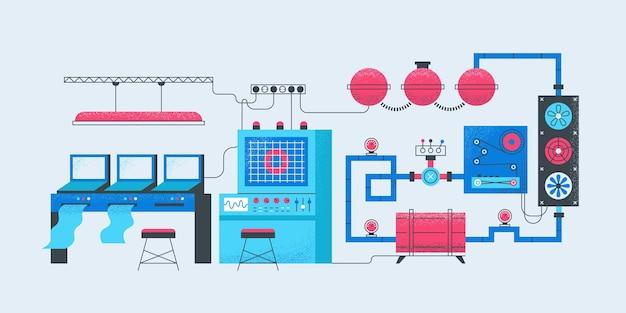 スマートファクトリーコンセプト。それを計算する生産プロセスを製造する現代の工業製造工場。オペレーターのベクトル図なしで最新のコンベアマシンの自動化作業