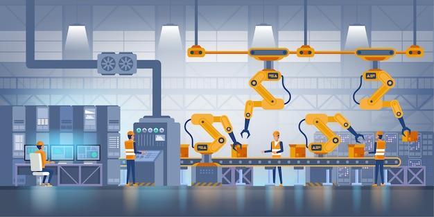 스마트 팩토리. 산업 및 기술 개념.