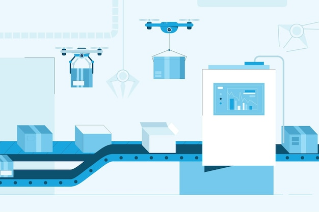 コンベアインテリアデザインのスマートファクトリー。段ボール箱の自動生産ライン。データ付きの画面、クワッドコプターの配達小包。ロボットの現代技術の概念。図