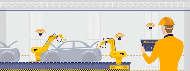Smart factory with workers, robots and assembly line automotive concept illustration.