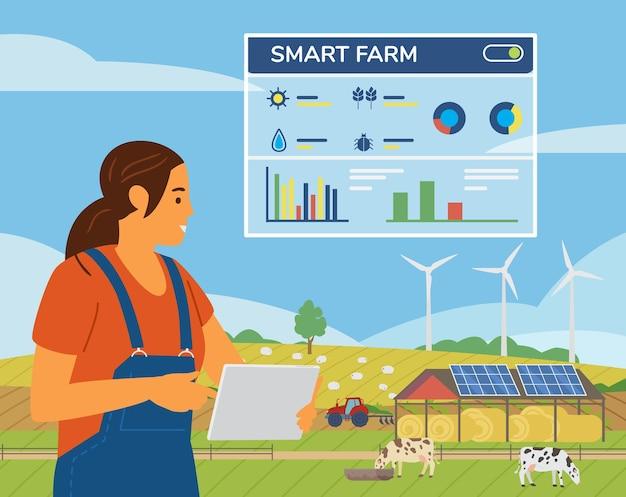 원격 제어를위한 응용 프로그램과 함께 농장을 관리하는 태블릿을 들고 스마트 농장 개념 여자 농부