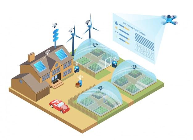 스마트 팜. 데이터 분석 및 관리 농업
