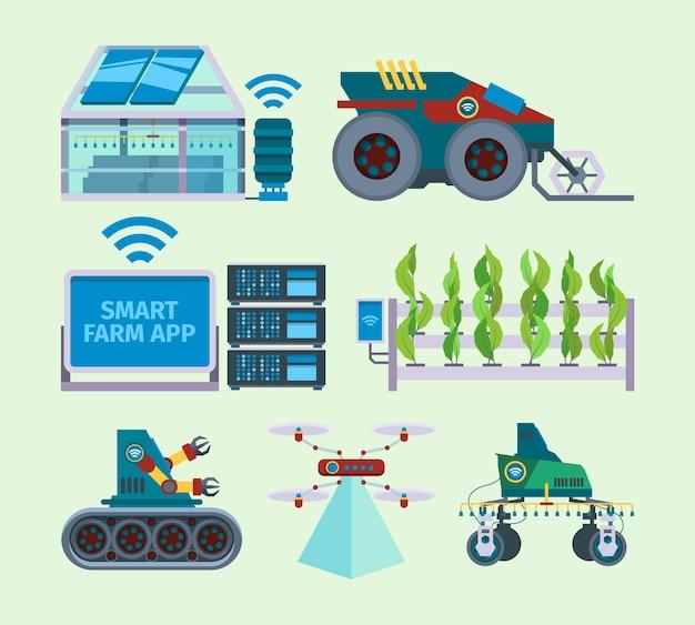 스마트팜. 무인 농업 농업 혁신 디지털 에너지 스마트 산업 벡터 평면 그림 세트. 농업 산업 혁신, 스마트 장비 농업 일러스트레이션