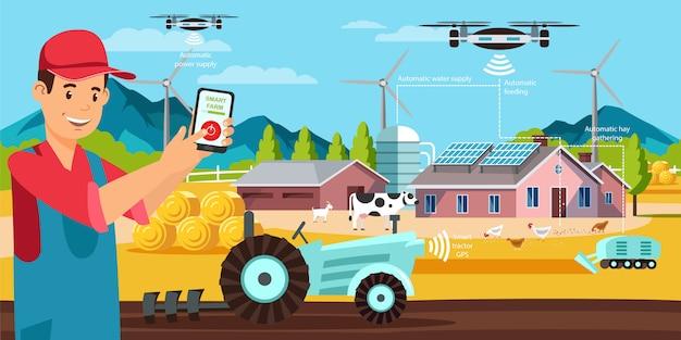 Плоский баннер smart farm современное приложение вектор.