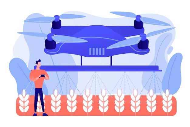 Agricoltore intelligente che controlla l'irrorazione o l'irrigazione dei raccolti con droni agricoli