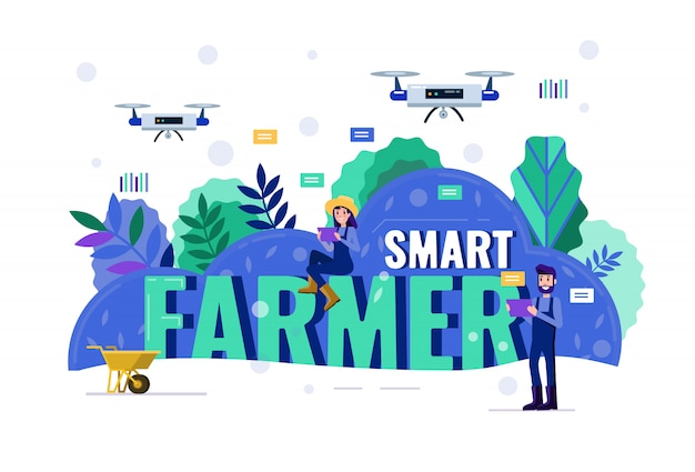 농지 위에서 무인 항공기를 탐색하는 똑똑한 농부.