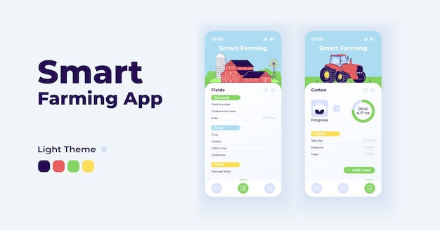 Smart farming app cartoon smartphone interface  templates set. mobile app screen page day mode . agricultural fields details ui for application. phone display with  illustrations