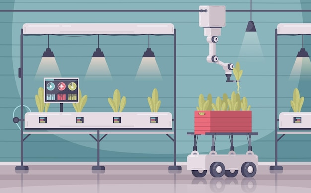 Smart farming cartoon composition with indoor scenery and cabinets with sensors on plants