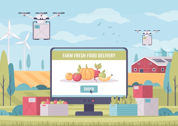 Smart farming cartoon composition with outdoor landscape and computer with fresh food delivery