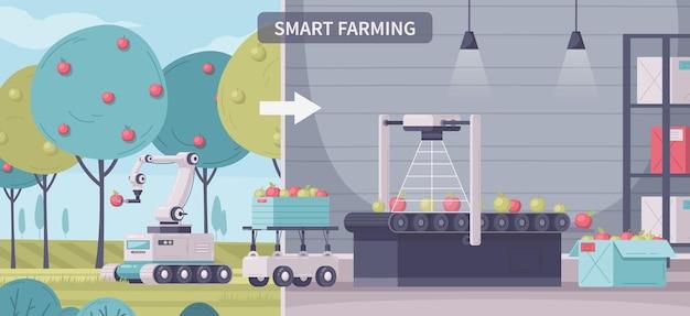 Composizione di cartoni animati agricoli intelligenti con testo e viste sul giardino all'aperto e sul trasportatore