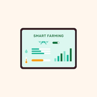 Вектор пользовательского интерфейса смарт-контроллера сельского хозяйства на экране планшета